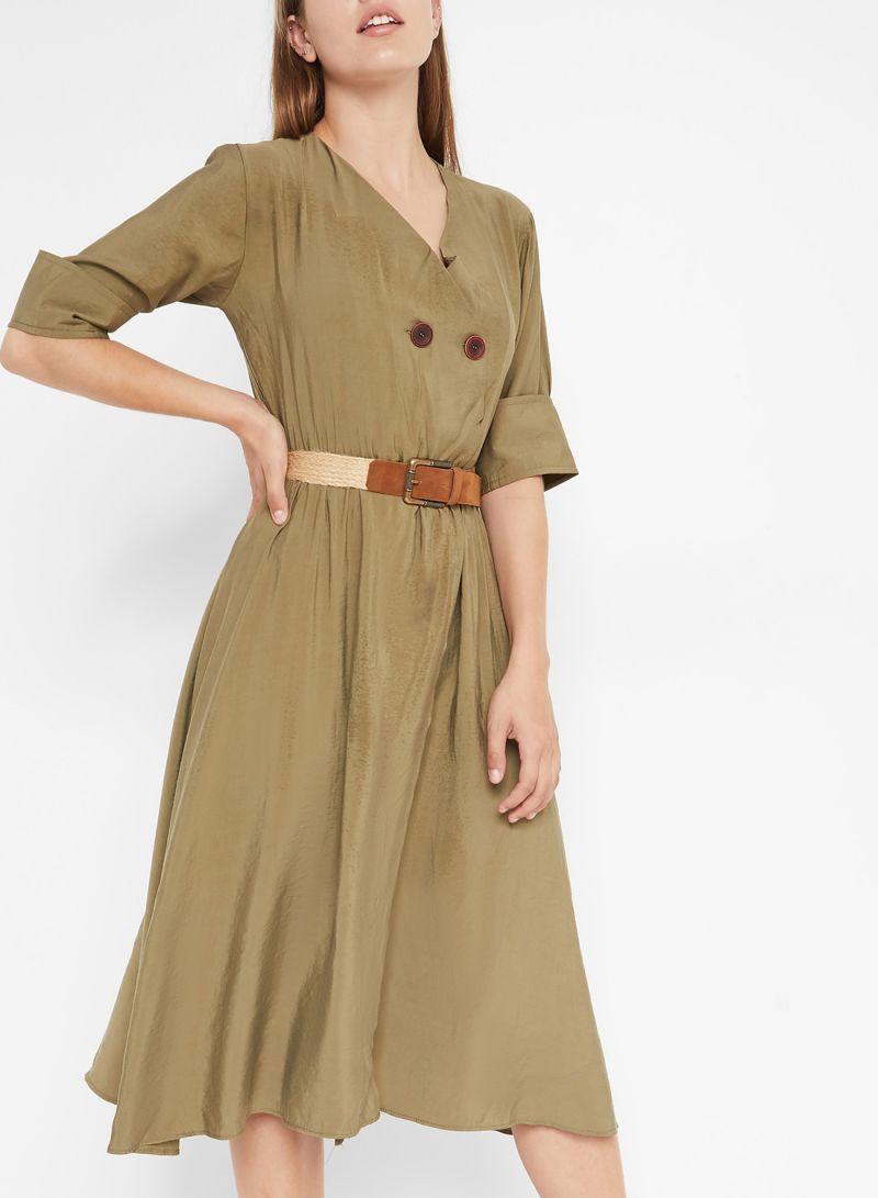 V-Neck Midi Short Sleeve Dresses Khaki