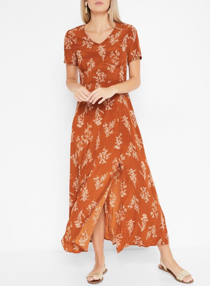 Printed Side Slit Detail Short Sleeve Dresses Camel