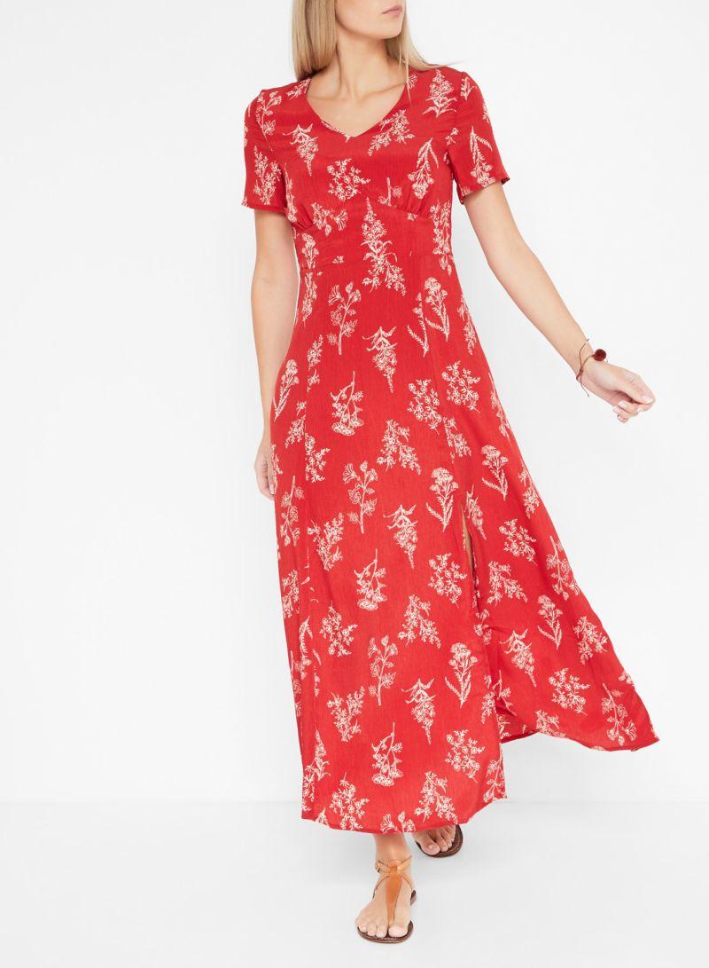 Printed Side Slit Detail Short Sleeve Dresses Red