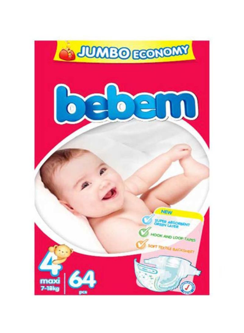 Baby Diapers, Size 4, Maxi, 7-18Kg, Counts 64
