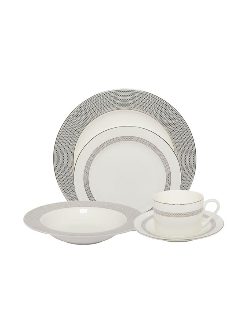 20-Piece Ceramic Dinnerware Set White/Black 29 x 24 x 34 centimeter