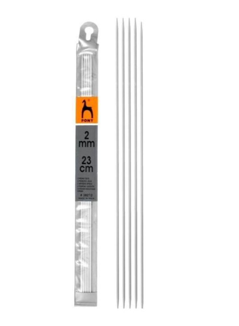 Pack Of 5 Aluminium Knitting Needles Set Silver