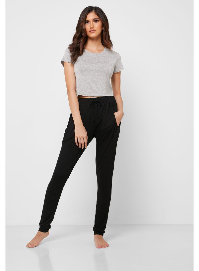 Slim Fit Pyjama Bottoms Black