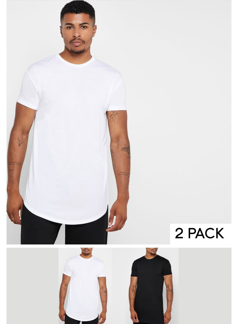Pack Of 2 Assorted Longline T-Shirts Black/White