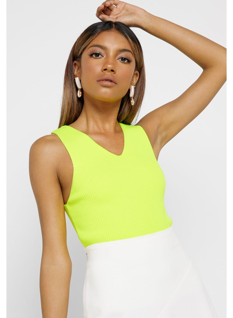 Ribbed V-Neck Top Neon Yellow
