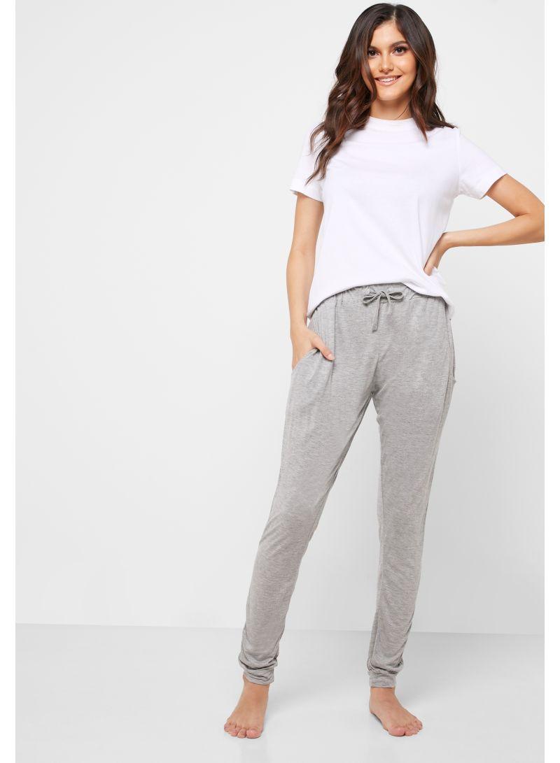 Slim Fit Pyjama Bottoms Grey
