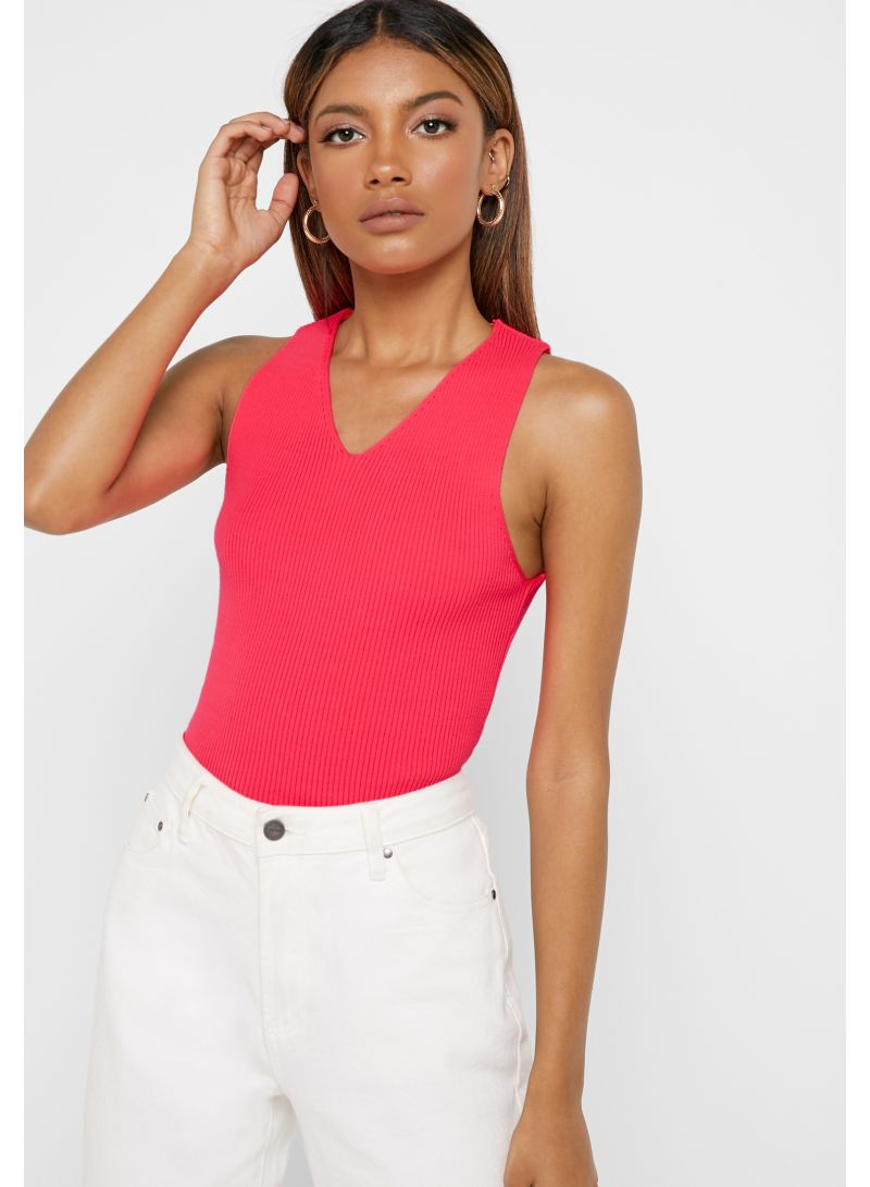 Ribbed V-Neck Top Neon Pink
