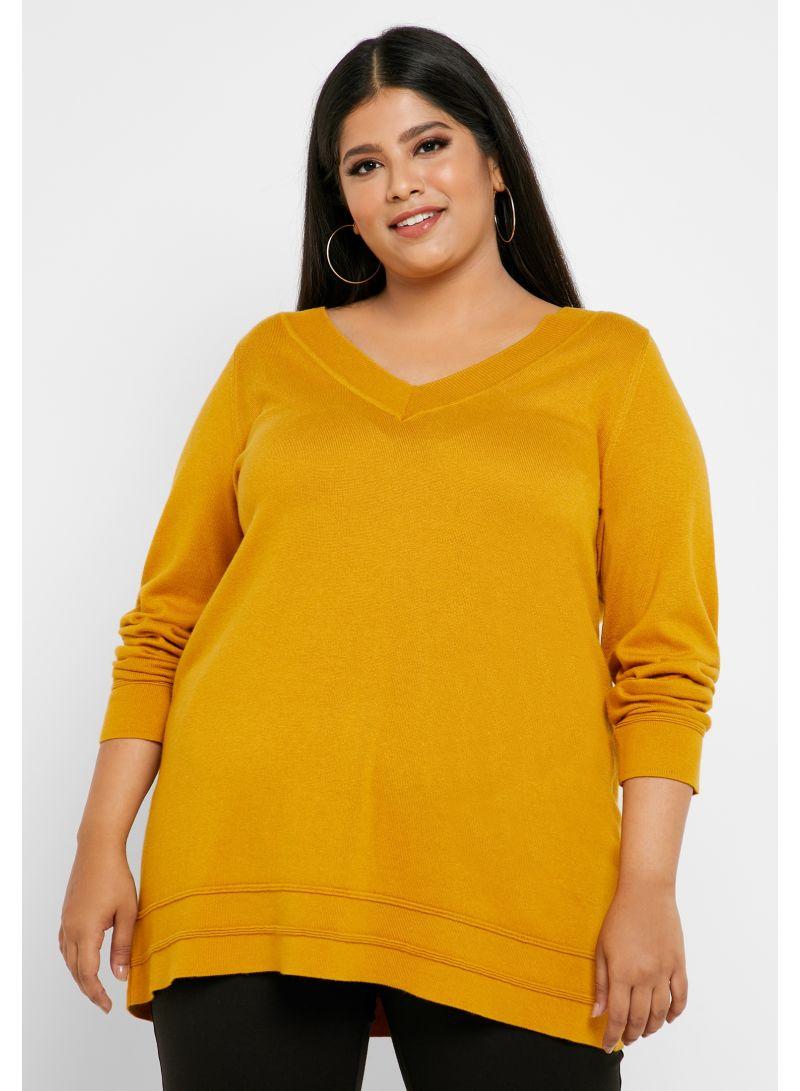 V-Neck Ribbed Sweater Mustard Yellow
