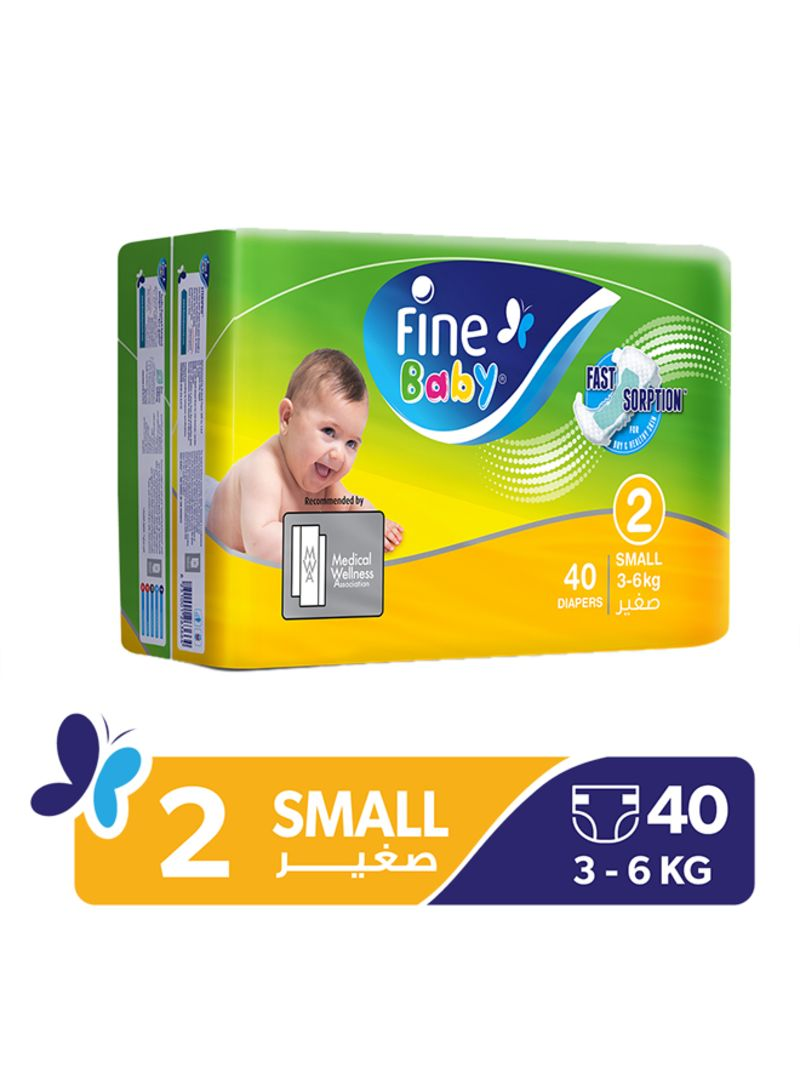Fine Baby Diapers, Size 2 (3-6 kg), 40 Count