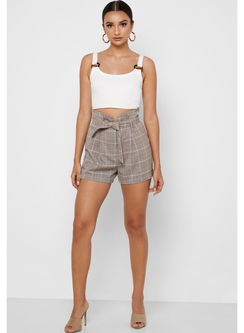 High Waist Contrast Belt Checked Shorts Multicolour