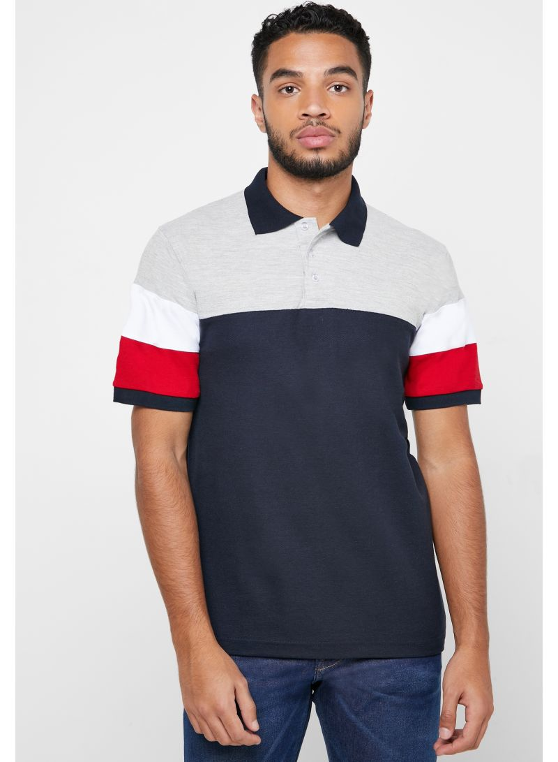 Colour Block Polo T-Shirt Navy/Red