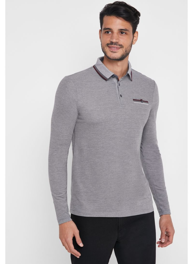 Tipped Polo Grey