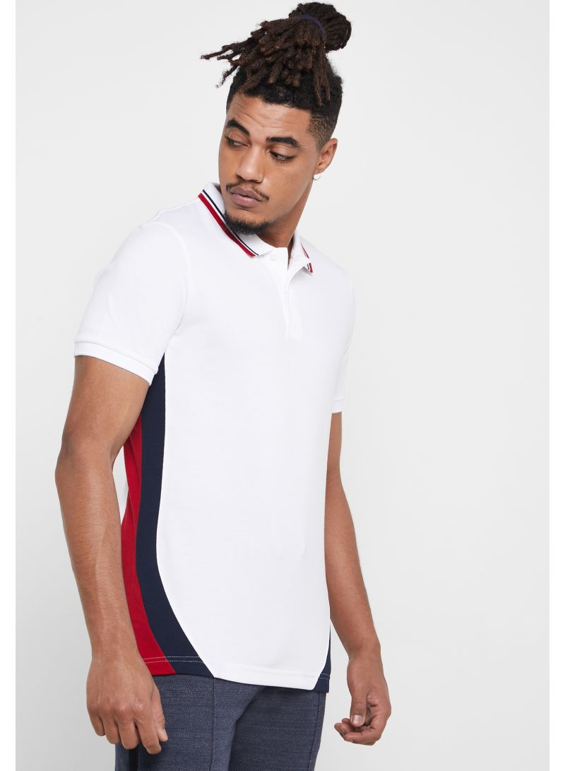 Contrast Collar Slim Fit Polo White