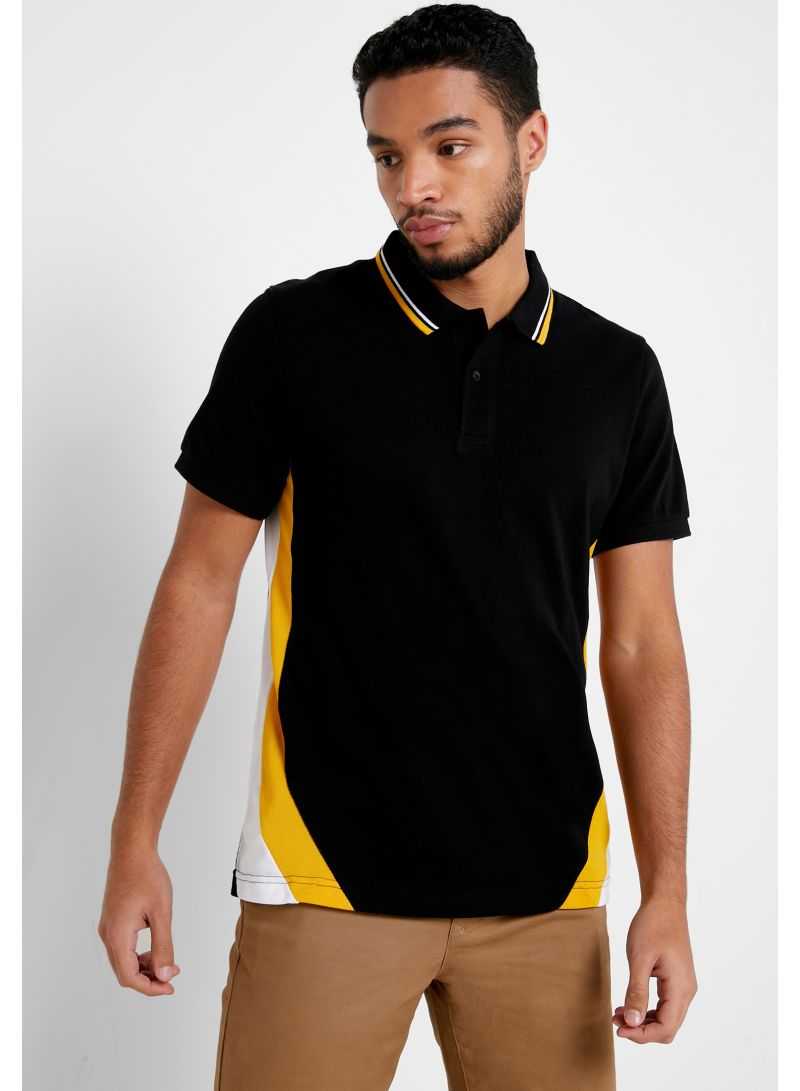 Contrast Collar Slim Fit Polo Black