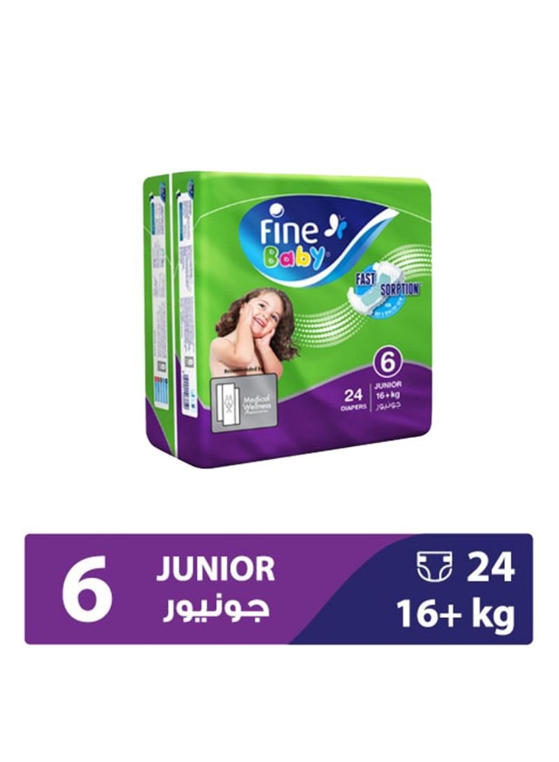 Diapers Green Fast Sorption, Junior 22+ Kgs, Economy Pack, 24 Count