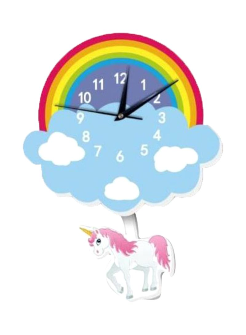 Cartoon Lovely Home Decoration Accessories Wall Stickers 3D Rainbow Unicorn Wall Clock Background Decoration For Kids Rooms Home Decor Multicolour